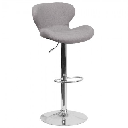 Flash Furniture CH-321-GYFAB-GG Contemporary Gray Fabric Adjustable Height Barstool with Curved Back and Chrome Base