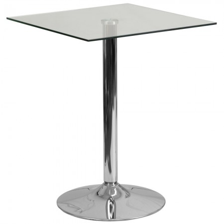 """Flash Furniture CH-4-GG 23.75"""" Square Glass Table with 30""""H Chrome Base"""
