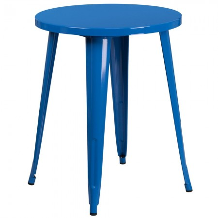 "Flash Furniture CH-51080-29-BL-GG 24"" Round Blue Metal Indoor-Outdoor Table"