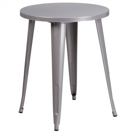 """Flash Furniture CH-51080-29-SIL-GG 24"""" Round Silver Metal Indoor-Outdoor Table"""