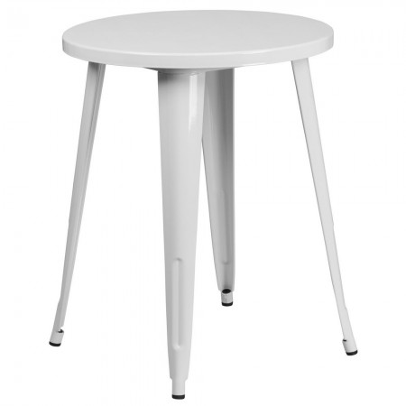 """Flash Furniture CH-51080-29-WH-GG 24"""" Round White Metal Indoor-Outdoor Table"""