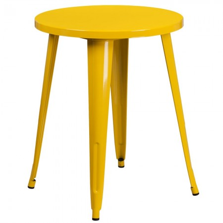 "Flash Furniture CH-51080-29-YL-GG 24"" Round Yellow Metal Indoor-Outdoor Table"