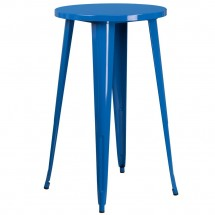 """Flash Furniture CH-51080-40-BL-GG 24"""" Round Blue Metal Indoor-Outdoor Bar Height Table"""