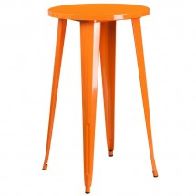 """Flash Furniture CH-51080-40-OR-GG 24"""" Round Orange Metal Indoor-Outdoor Bar Height Table"""