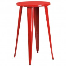 """Flash Furniture CH-51080-40-RED-GG 24"""" Round Red Metal Indoor-Outdoor Bar Height Table"""