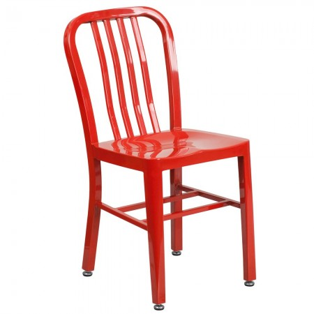 Flash Furniture CH-61200-18-RED-GG Red Metal Indoor-Outdoor Chair