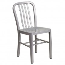 Flash Furniture CH-61200-18-SIL-GG Silver Metal Indoor-Outdoor Chair