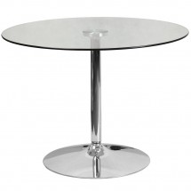 """Flash Furniture CH-8-GG 39.25"""" Round Glass Table with 29""""H Chrome Base"""