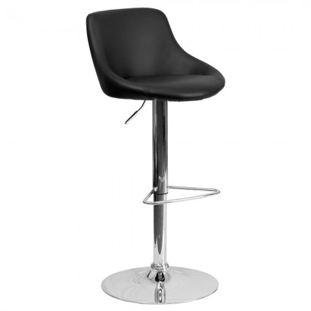 Flash Furniture CH-82028-MOD-BK-GG Contemporary Black Vinyl Bucket Seat Adjustable Height Bar Stool