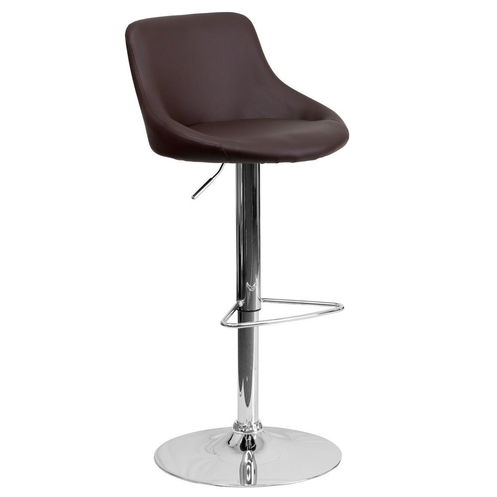 Flash Furniture CH-82028-MOD-BRN-GG Contemporary Brown Vinyl Bucket Seat Adjustable Height Bar Stool
