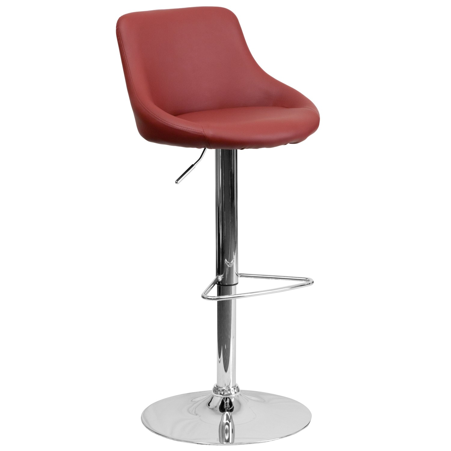 Flash Furniture CH-82028-MOD-BURG-GG Contemporary Burgundy Vinyl Bucket Seat Adjustable Height Bar Stool