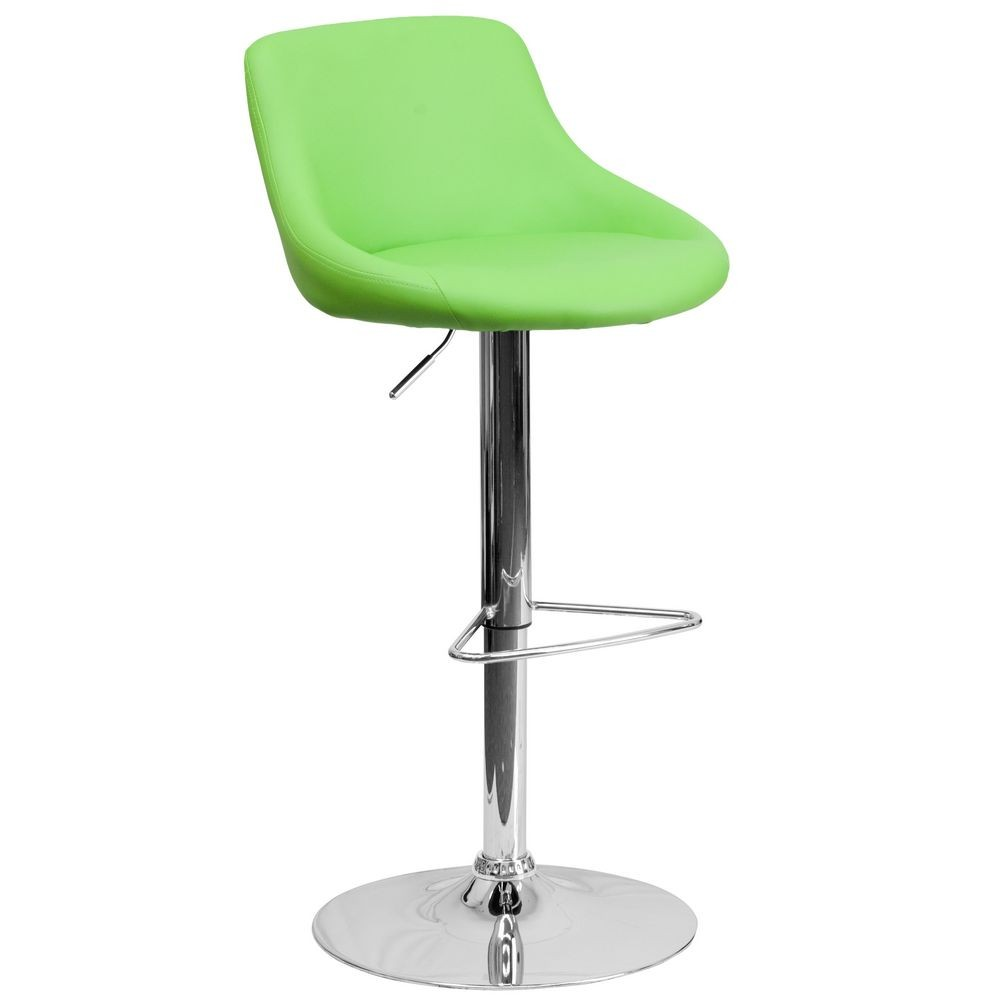 Flash Furniture CH-82028-MOD-GRN-GG Contemporary Green Vinyl Bucket Seat Adjustable Height Bar Stool