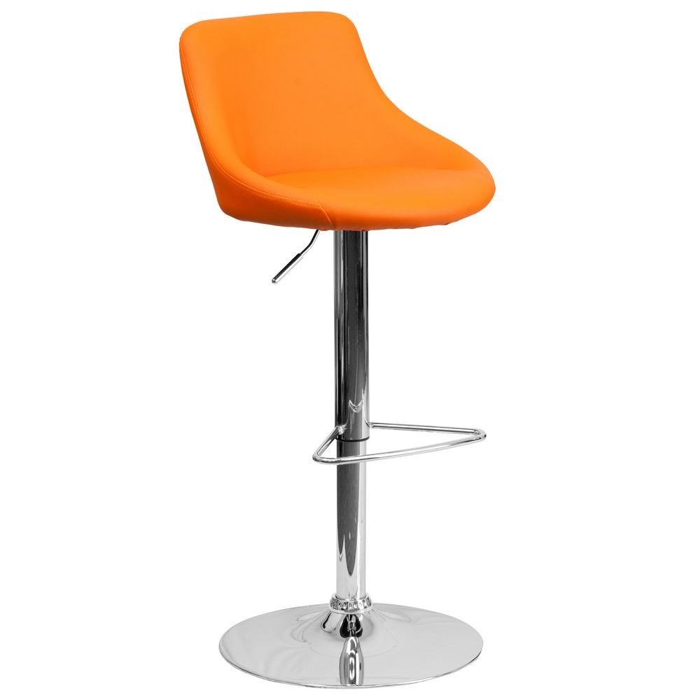 Flash Furniture CH-82028-MOD-ORG-GG Contemporary Orange Vinyl Bucket Seat Adjustable Height Bar Stool