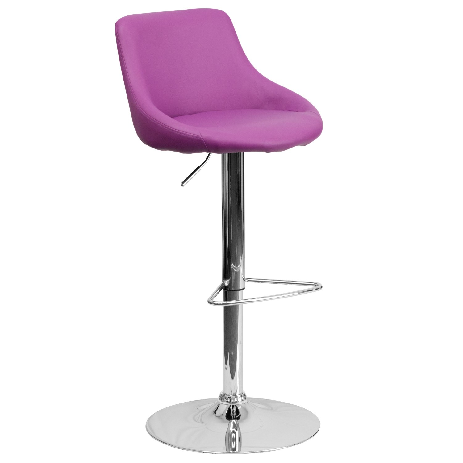 Flash Furniture CH-82028-MOD-PUR-GG Contemporary Purple Vinyl Bucket Seat Adjustable Height Bar Stool