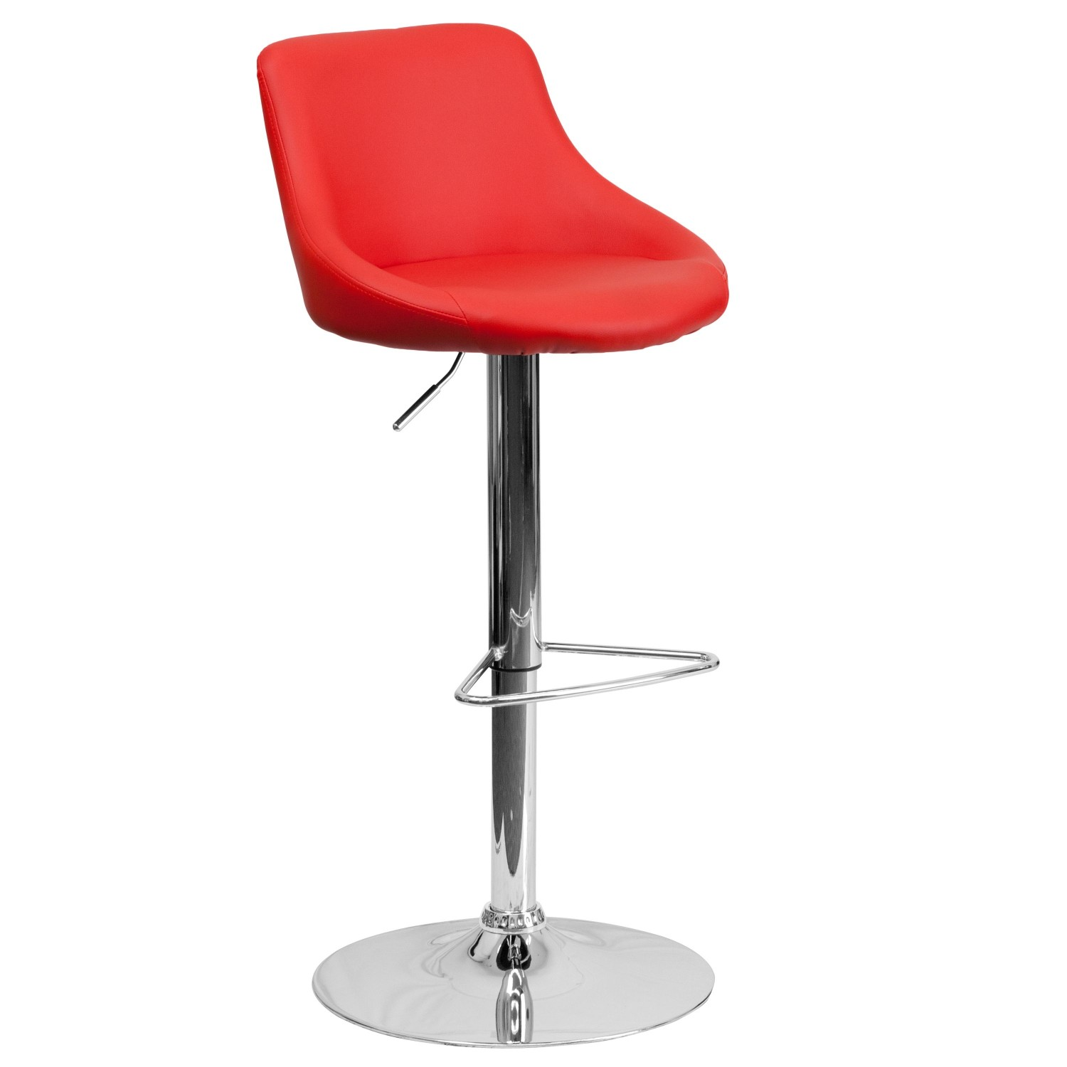 Flash Furniture CH-82028-MOD-RED-GG Contemporary Red Vinyl Bucket Seat Adjustable Height Bar Stool