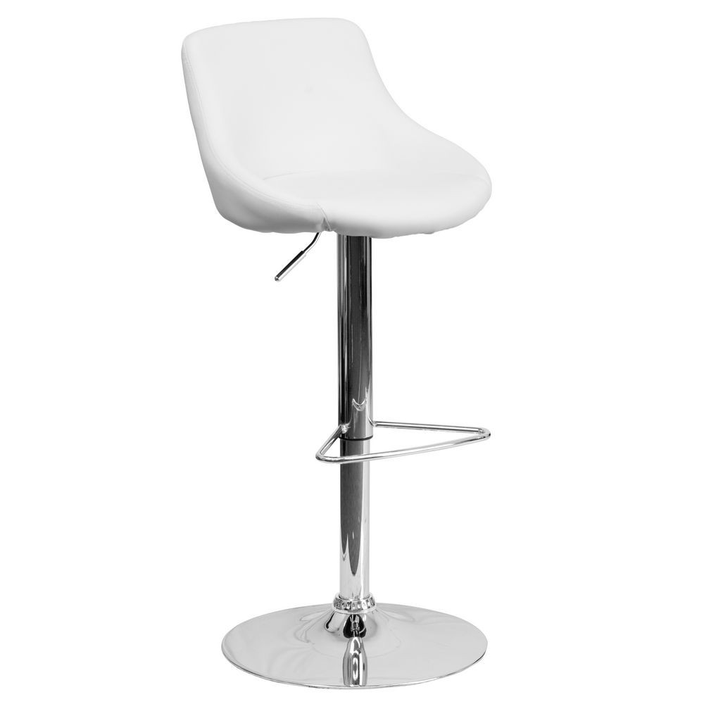 Flash Furniture CH-82028-MOD-WH-GG Contemporary White Vinyl Bucket Seat Adjustable Height Bar Stool