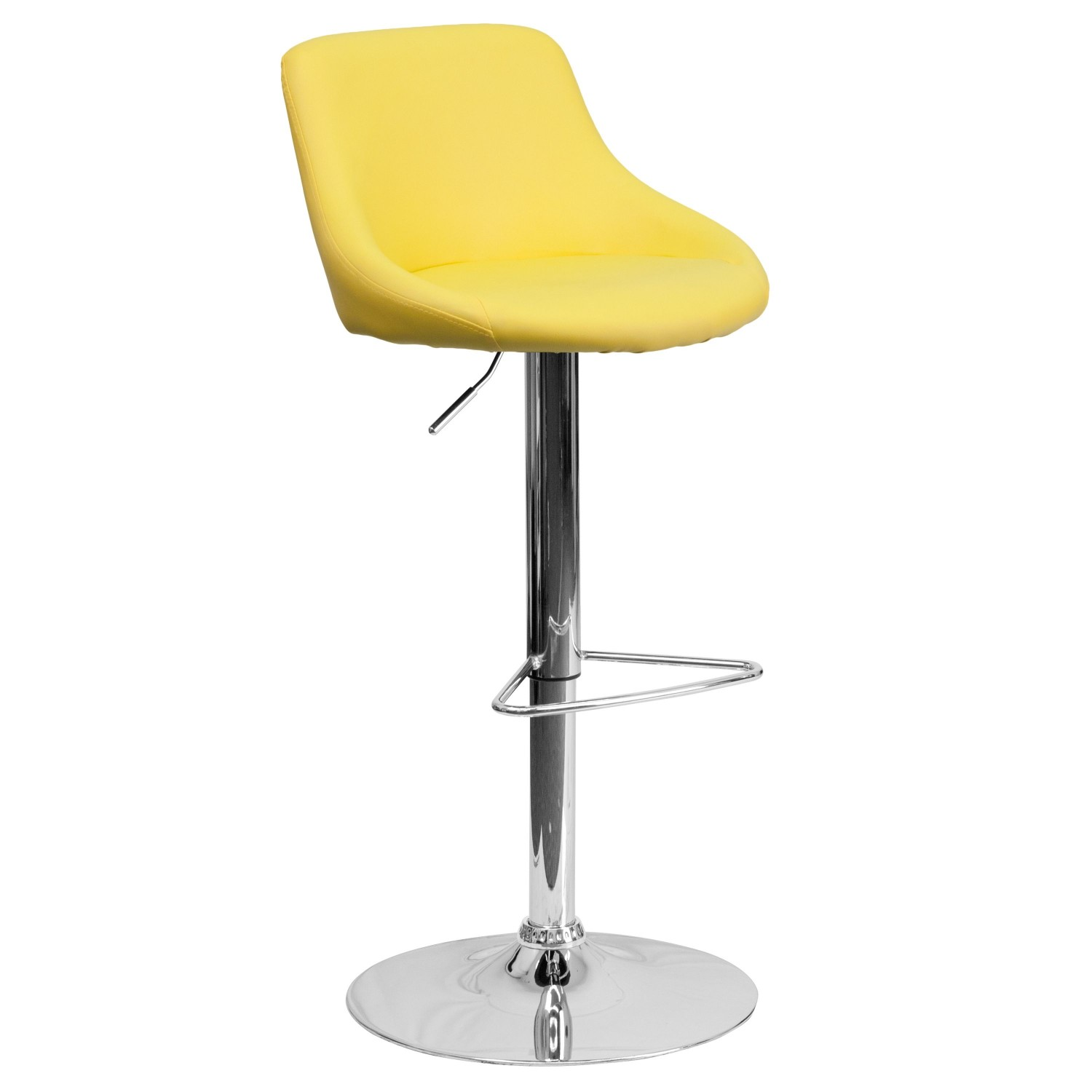 Flash Furniture CH-82028-MOD-YEL-GG Contemporary Yellow Vinyl Bucket Seat Adjustable Height Bar Stool