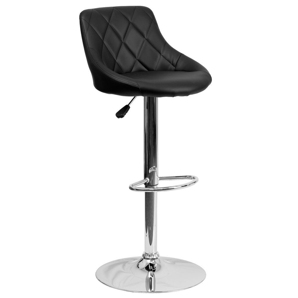 Flash Furniture CH-82028A-BK-GG Contemporary Black Vinyl Bucket Seat Adjustable Height Bar Stool
