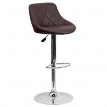Flash Furniture CH-82028A-BRN-GG Contemporary Brown Vinyl Bucket Seat Adjustable Height Bar Stool