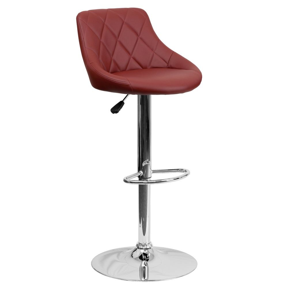 Flash Furniture CH-82028A-BURG-GG Contemporary Burgundy Vinyl Bucket Seat Adjustable Height Bar Stool