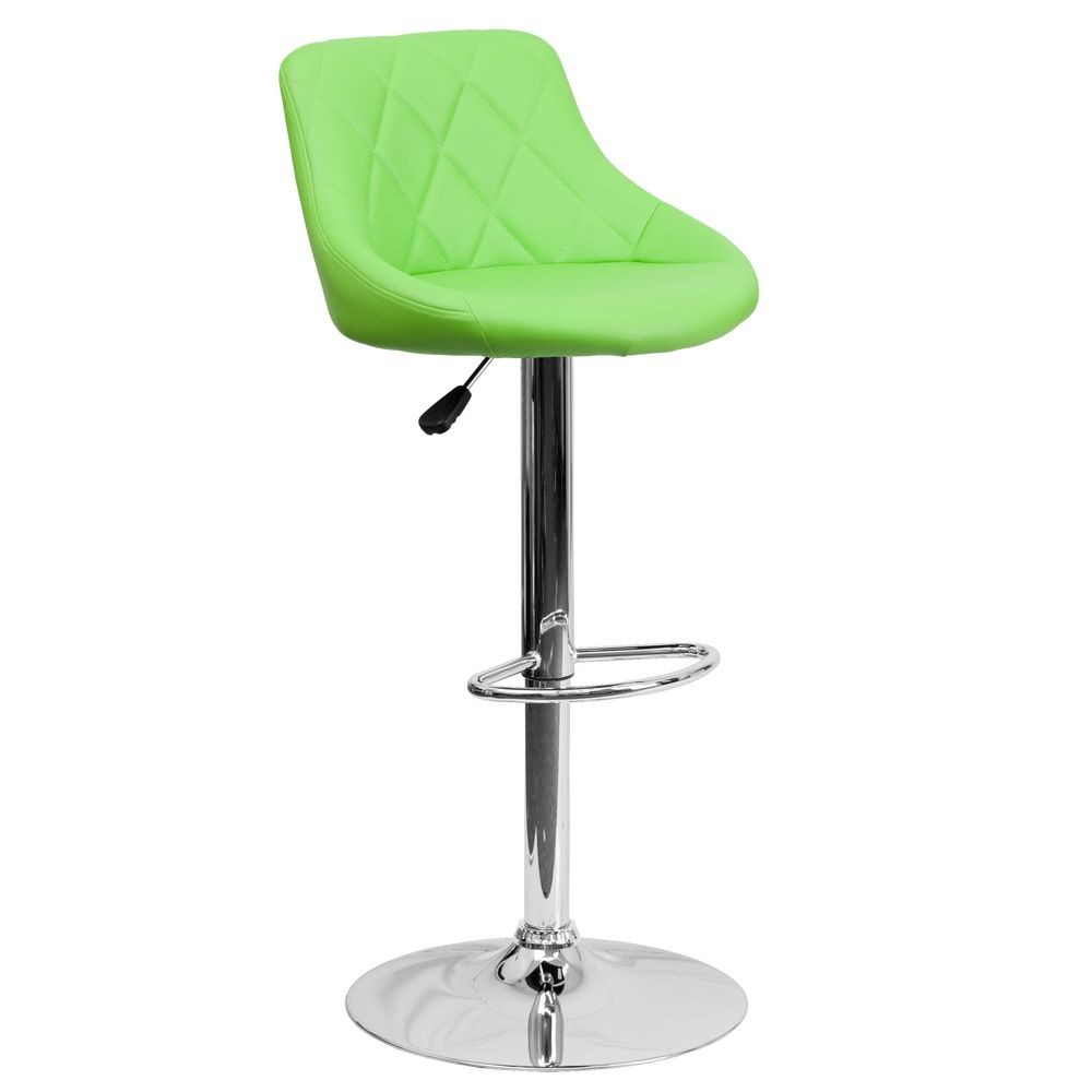 Flash Furniture CH-82028A-GRN-GG Contemporary Green Vinyl Bucket Seat Adjustable Height Bar Stool
