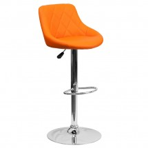 Flash Furniture CH-82028A-ORG-GG Contemporary Orange Vinyl Bucket Seat Adjustable Height Bar Stool
