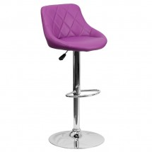 Flash Furniture CH-82028A-PUR-GG Contemporary Purple Vinyl Bucket Seat Adjustable Height Bar Stool