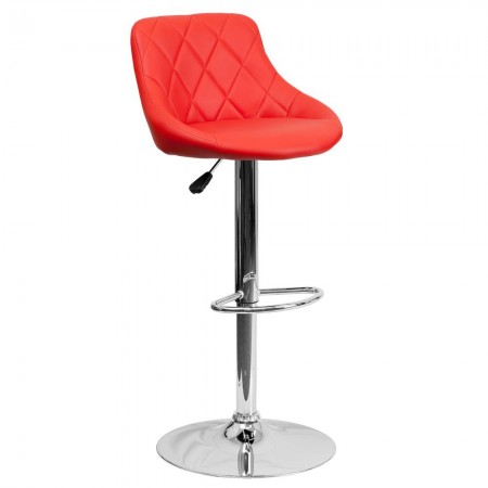 Flash Furniture CH-82028A-RED-GG Contemporary Red Vinyl Bucket Seat Adjustable Height Bar Stool
