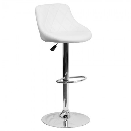 Flash Furniture CH-82028A-WH-GG Contemporary White Vinyl Bucket Seat Adjustable Height Bar Stool