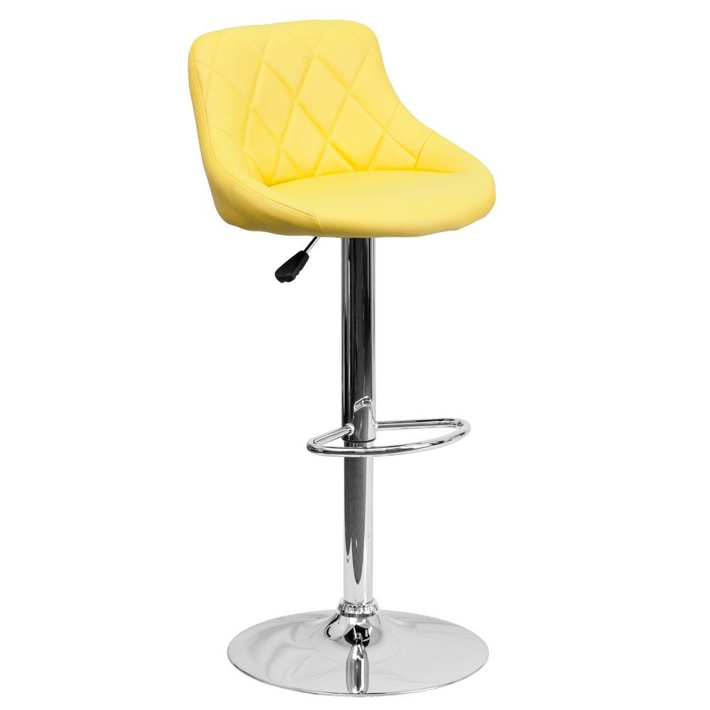 Flash Furniture CH-82028A-YEL-GG Contemporary Yellow Vinyl Bucket Seat Adjustable Height Bar Stool