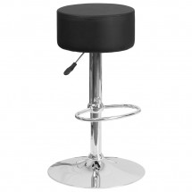 Flash Furniture CH-82056-BK-GG Contemporary Black Vinyl Adjustable Height Barstool with Chrome Base