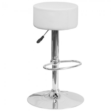 Flash Furniture CH-82056-WH-GG Contemporary White Vinyl Adjustable Height Barstool with Chrome Base