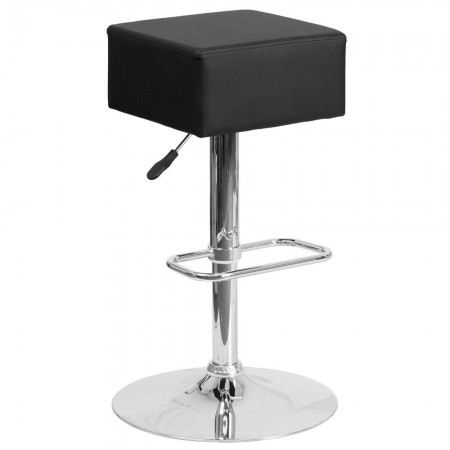 Flash Furniture CH-82058-4-BK-GG Contemporary Black Vinyl Adjustable Height Square Seat Barstool with Chrome Base