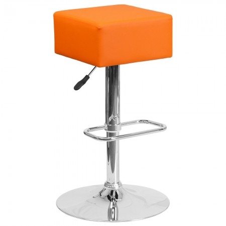 Flash Furniture CH-82058-4-OR-GG Contemporary Orange Vinyl Adjustable Height Square Seat Barstool with Chrome Base