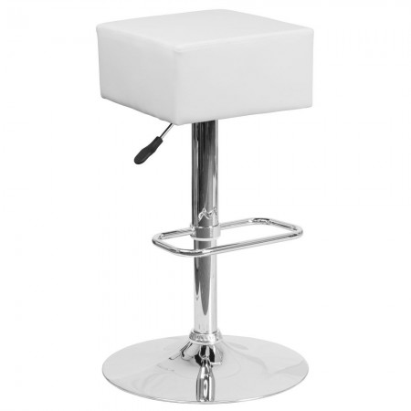 Flash Furniture CH-82058-4-WH-GG Contemporary White Vinyl Adjustable Height Square Seat Barstool with Chrome Base