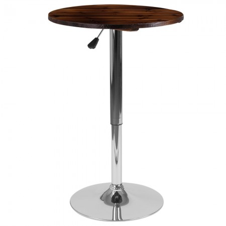 "Flash Furniture CH-9-GG 23.5"" Round Adjustable Height Rustic Pine Wood Table"