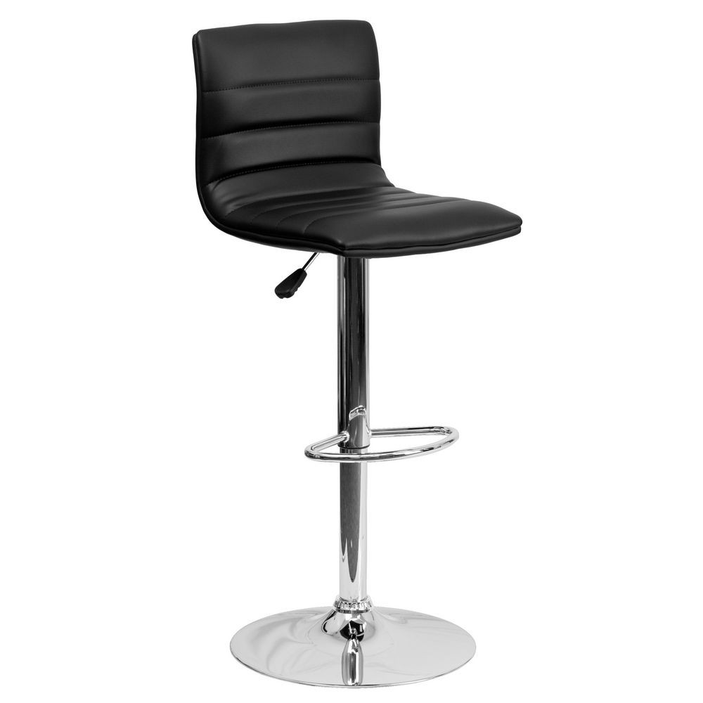 Flash Furniture CH-92023-1-BK-GG Contemporary Black Vinyl Adjustable Height Bar Stool