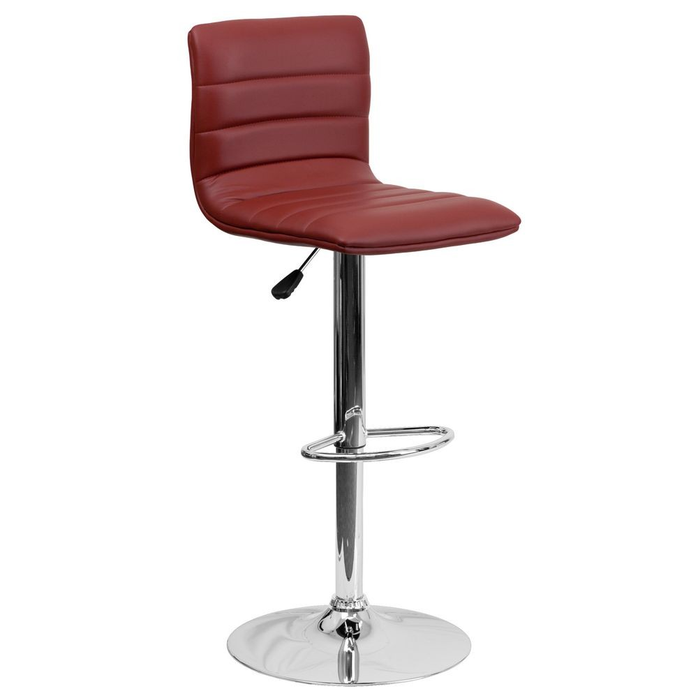 Flash Furniture CH-92023-1-BURG-GG Contemporary Burgundy Vinyl Adjustable Height Bar Stool