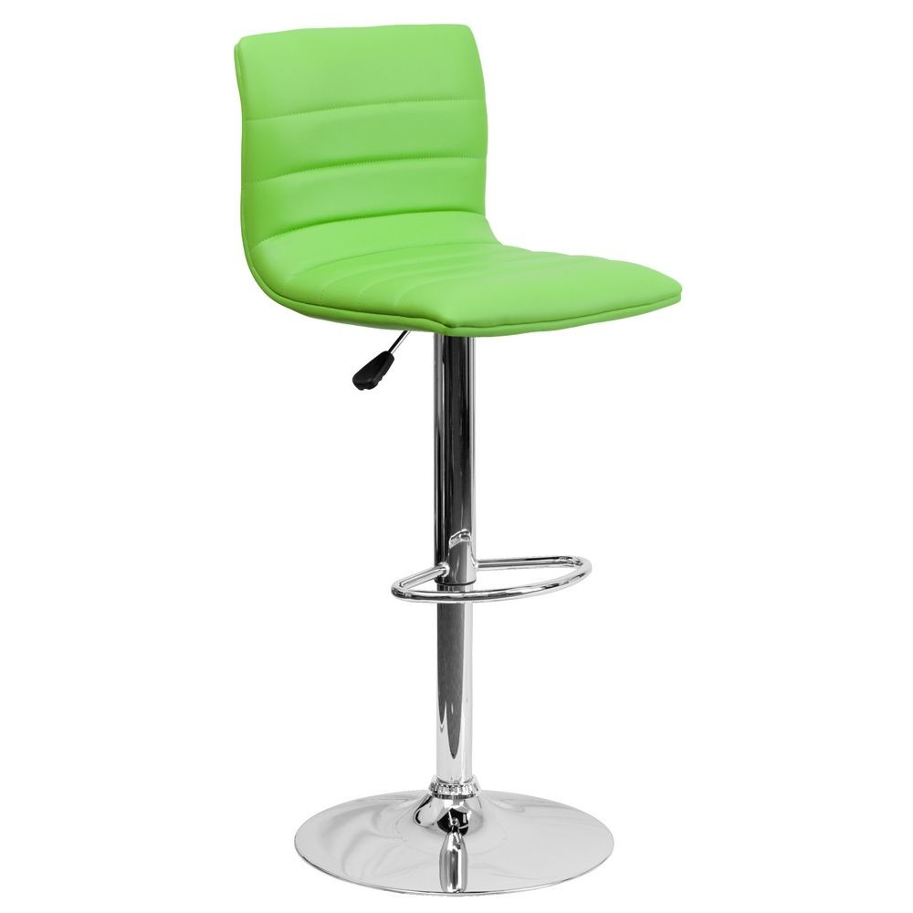Flash Furniture CH-92023-1-GRN-GG Contemporary Green Vinyl Adjustable Height Bar Stool