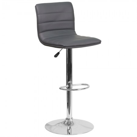 Flash Furniture CH-92023-1-GY-GG Contemporary Gray Vinyl Adjustable Height Barstool with Chrome Base