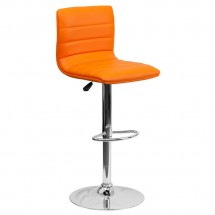 Flash Furniture CH-92023-1-ORG-GG Contemporary Orange Vinyl Adjustable Height Bar Stool