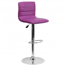Flash Furniture CH-92023-1-PUR-GG Contemporary Purple Vinyl Adjustable Height Bar Stool