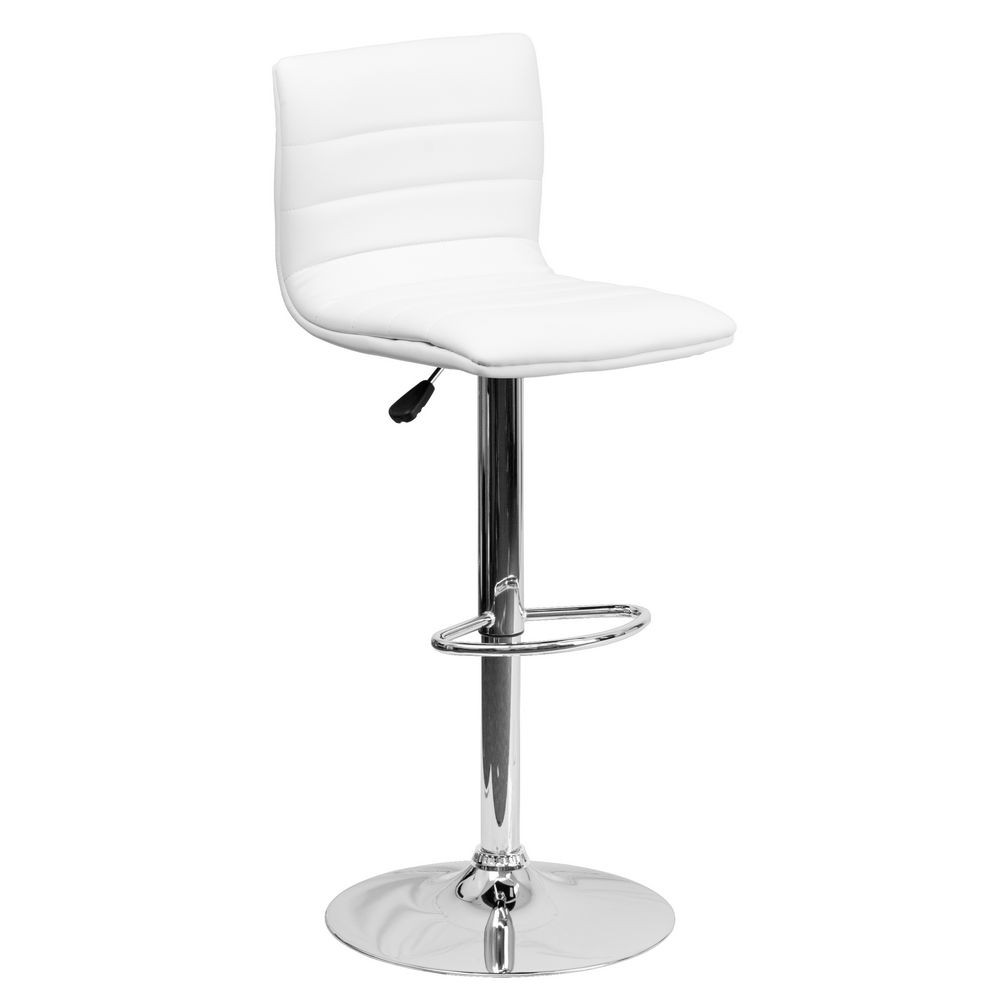 Flash Furniture CH-92023-1-WH-GG Contemporary White Vinyl Adjustable Height Bar Stool