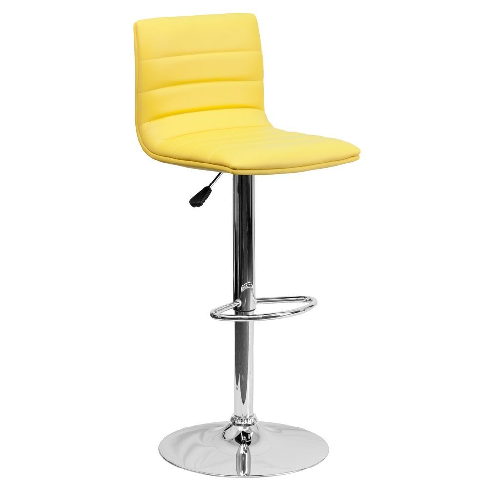 Flash Furniture CH-92023-1-YEL-GG Contemporary Yellow Vinyl Adjustable Height Bar Stool