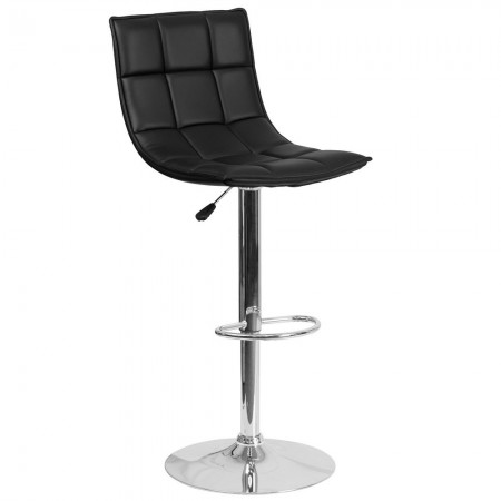 Flash Furniture CH-92026-1-BK-GG Contemporary Black Quilted Vinyl Adjustable Height Barstool with Chrome Base