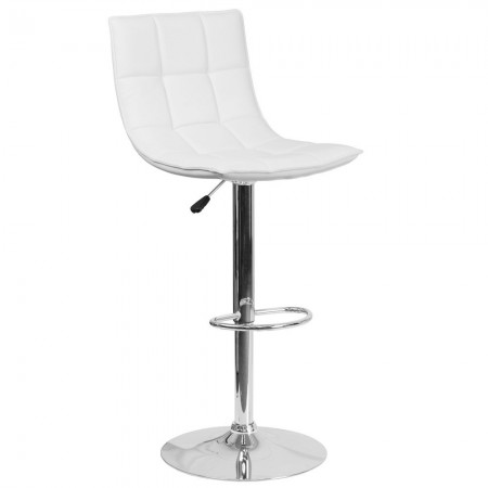 Flash Furniture CH-92026-1-WH-GG Contemporary White Quilted Vinyl Adjustable Height Barstool with Chrome Base