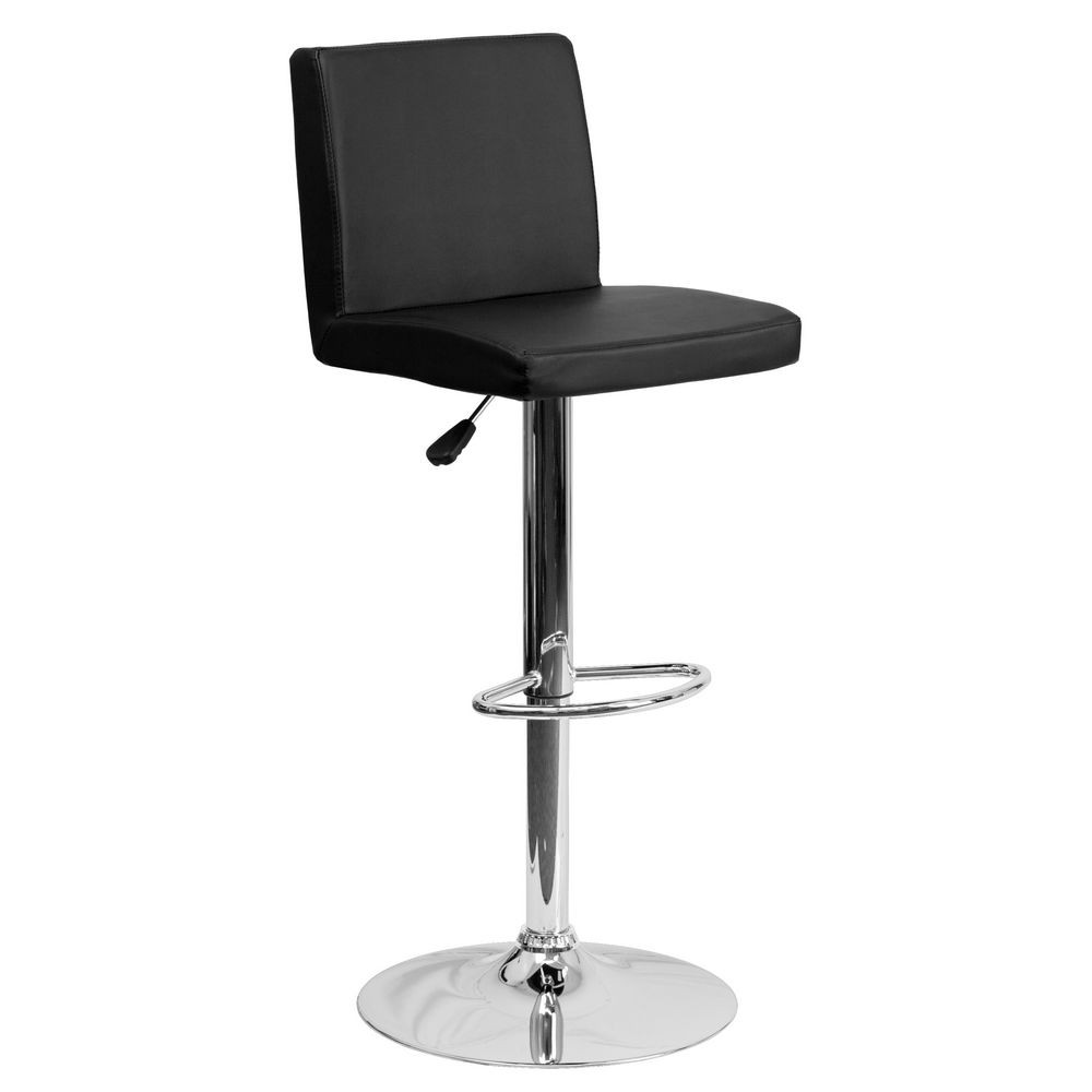 Flash Furniture CH-92066-BK-GG Contemporary Black Vinyl Adjustable Height Bar Stool
