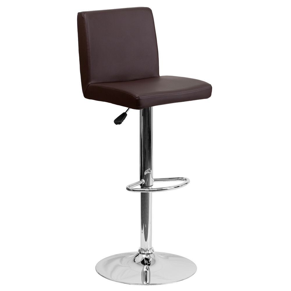 Flash Furniture CH-92066-BRN-GG Contemporary Brown Vinyl Adjustable Height Bar Stool