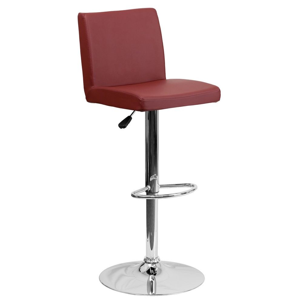 Flash Furniture CH-92066-BURG-GG Contemporary Burgundy Vinyl Adjustable Height Bar Stool
