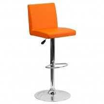 Flash Furniture CH-92066-ORG-GG Contemporary Orange Vinyl Adjustable Height Bar Stool